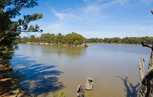 Murray-Darling rivers converge at Wentworth