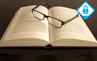 "An open book with a pair of reading glasses. Superimposed is a ""Member Only"" symbol."